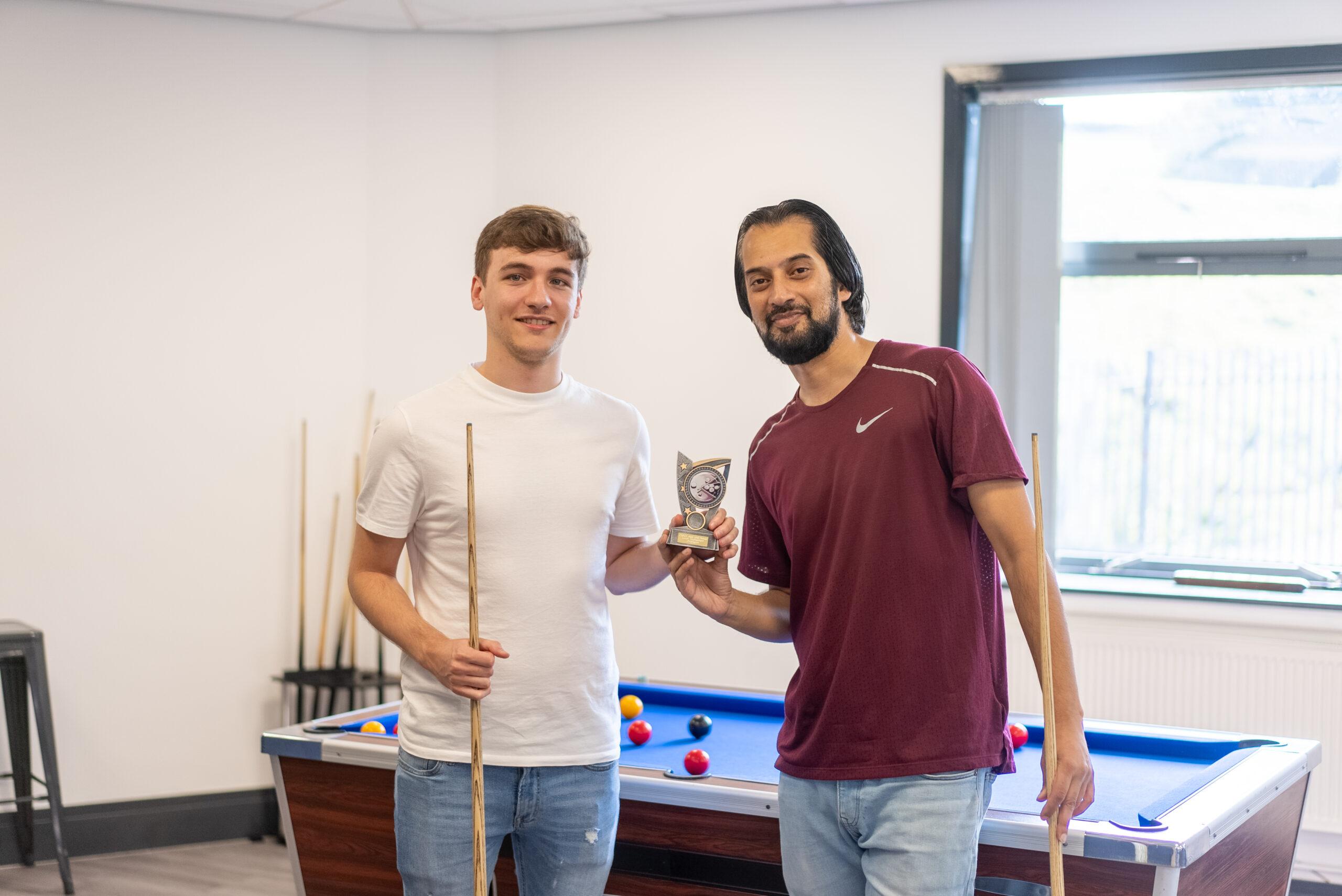 Jack Askham & Ijaz Ali - winners of the Crown Gas & Power charity pool tournament